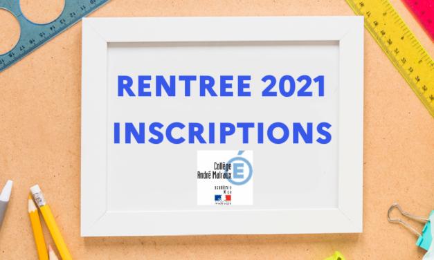 Inscriptions rentrée 2021